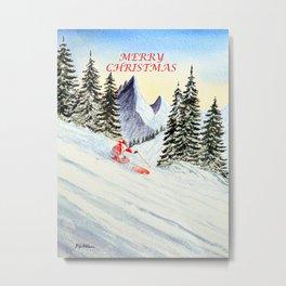 Merry Christmas with Skiing Santa Metal Print