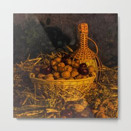 Still-life with nuts and wine Metal Print