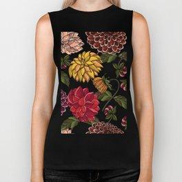 Elegant seamless pattern with set of flowers, design elements on transparent background. Biker Tank