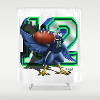 seahawks Shower Curtains featuring 12thMan by Dreamstate Design