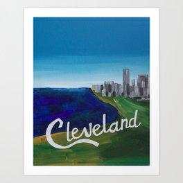 Cleveland CLE Ohio Lake Erie Skyline Painting Art Print