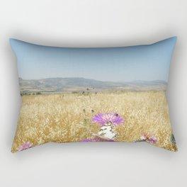 Butterflies, Purple Flowers Rectangular Pillow