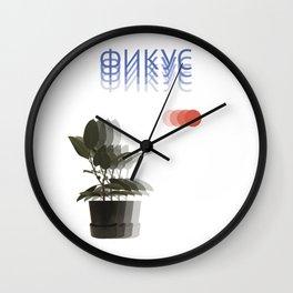 Ficus elastica and red circles Wall Clock