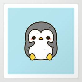 Shy penguin Art Print