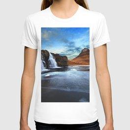 Kirkjufell Ice Iceland Kirkjufell Mountain Kirkjufell Waterfall ocean sea ice winter T-shirt