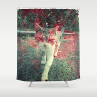 resident evil Shower Curtains featuring Evil cat by Deprofundis