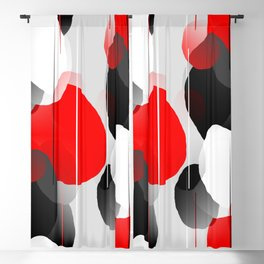 Modern Anxiety Abstract - Red, Black, Gray Blackout Curtain