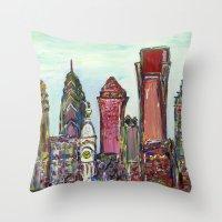 philadelphia Throw Pillows featuring Philadelphia Skyline by Britt Miller Art