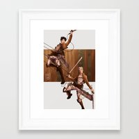 attack on titan Framed Art Prints featuring Haikyuu!! Attack on Titan Crossover: Bokuto and Kuroo by JBadgr
