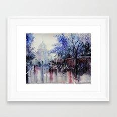 Paris Watercolor painting -  La Sorbonne Framed Art Print