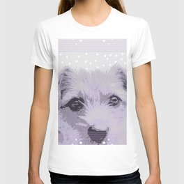 Curious little dog waiting for you - funny dog portrait T-shirt