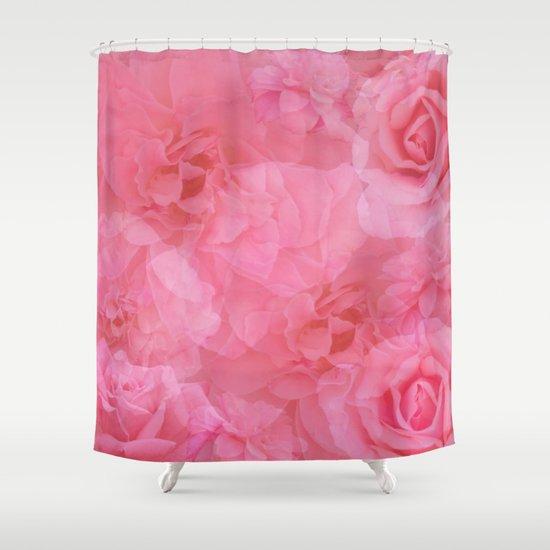 Soft Pastel Pink Vintage Rose Quartz Collage Shower Curtain