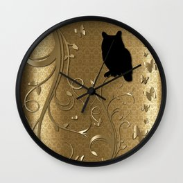 Silhouette Owl in a Golden Kingdom Wall Clock