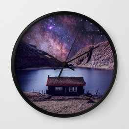 Lonely house on another planet Wall Clock