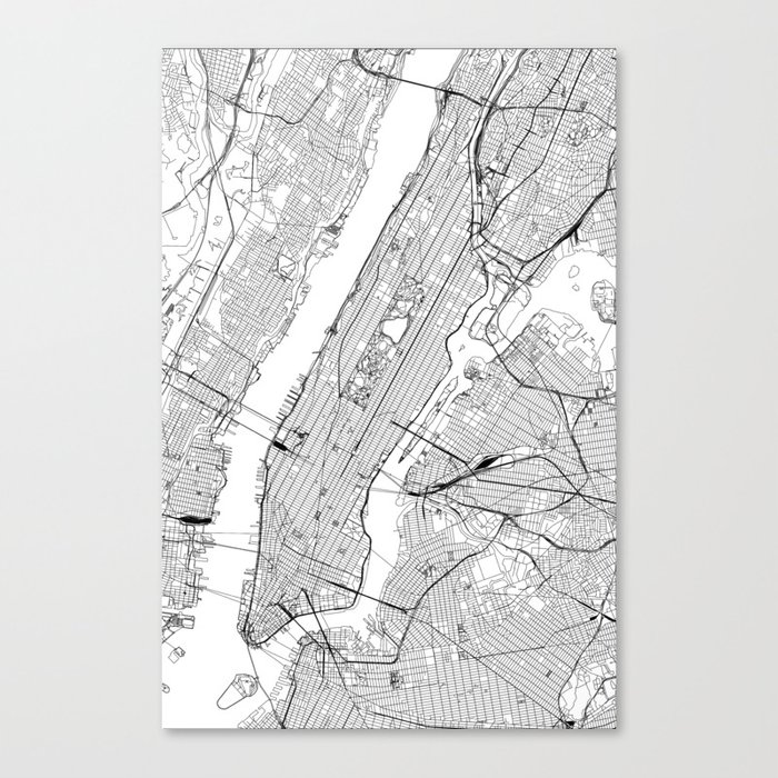 New York City White Map Leinwanddruck