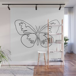 Butterfly One Line art in black and white Wall Mural