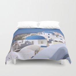 Oia Village in Santorini Duvet Cover