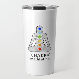 Woman in meditation with the seven chakras and its respective colors Travel Mug