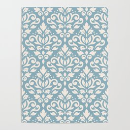 Scroll Damask Big Pattern Cream on Blue Poster