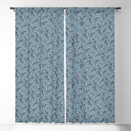 Winter Leaves & Branches Blackout Curtain