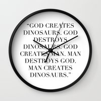 jurassic park Wall Clocks featuring Jurassic Park by Dedication