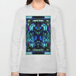 Blue and Aqua Stained Glass Victorian Design Long Sleeve T-shirt