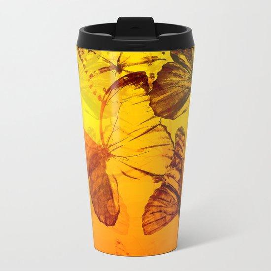 Lovely butterflies in sunset color - summer beauties on orange background Metal Travel Mug