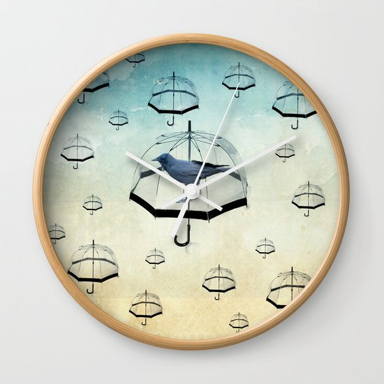 raven rain Wall Clock