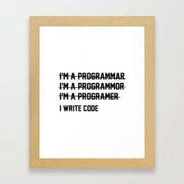 I Write Code Framed Art Print