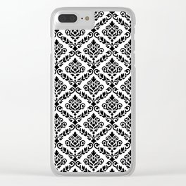Prima Damask Pattern Black on White Clear iPhone Case