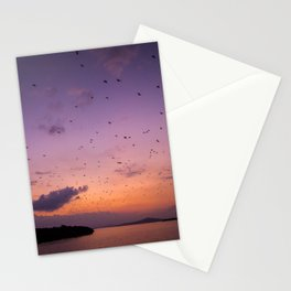 The Migration | Nature Landscape Photography of Fruit Bats Flying Over Ocean Sunset in Indonesia Stationery Cards