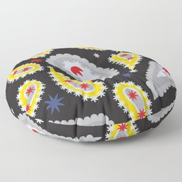 pattern with leaves and flowers paisley style Floor Pillow