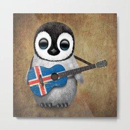 Baby Penguin Playing Icelandic Flag Acoustic Guitar Metal Print