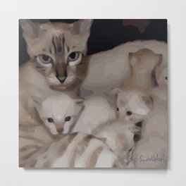 Luna the snow bengal cat with her kittens Metal Print