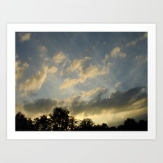August skies falling into dark Art Print