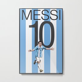Lionel Messi Argentina 10 Print Metal Print