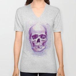 Skull Watercolor Purple Pink Skulls Unisex V-Neck
