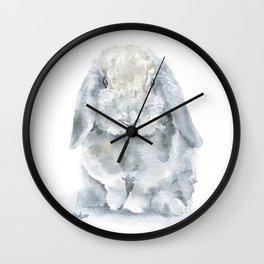 Mini Lop Gray Rabbit Watercolor Painting Wall Clock