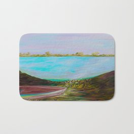 A Boat and a Seamless Sky Bath Mat