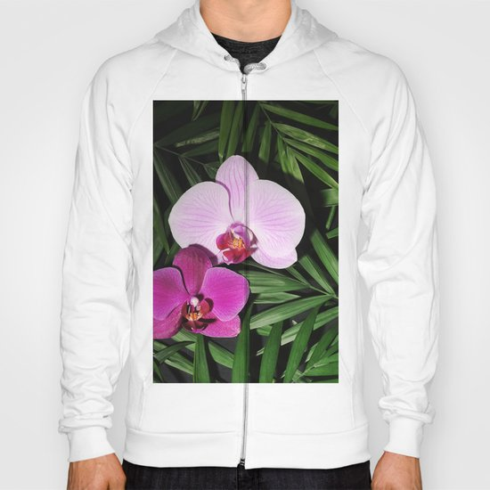 Orchids with palm leaves by annakhomulo