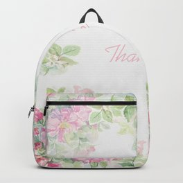 Thank you quote & Rose flowers Backpack