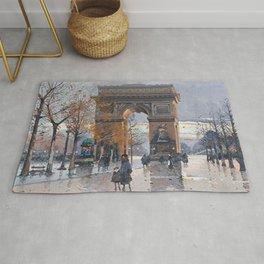 Arc de Triomphe, Paris, France by Eugene Galien Laloue Rug