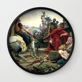Vercingetorix Throws Down His Arms At The Feet Of Julius Caesar Wall Clock