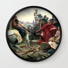 Vercingetorix Throws Down His Arms At The Feet Of Julius Caesar Wall Clock