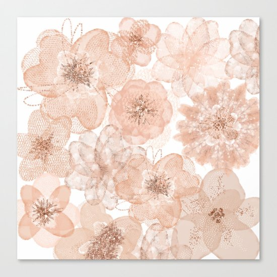Flowers and Lace- Floral pattern in pink Canvas Print