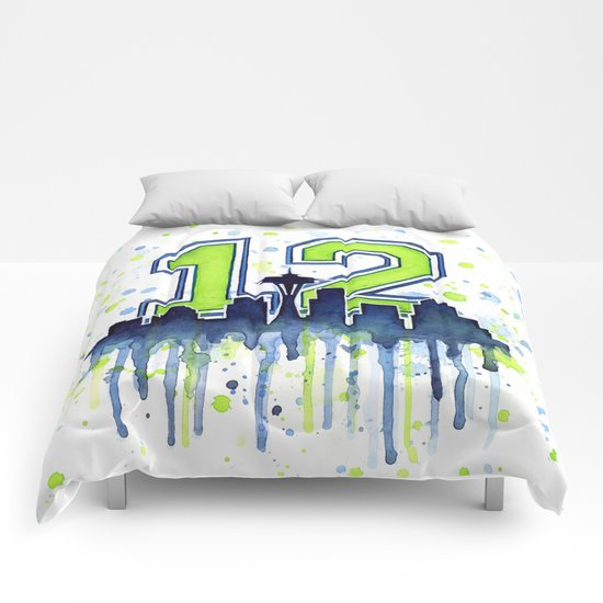 Hawks 12th Man Fan Art Seattle Space Needle Comforters