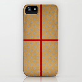 Present wrapped in gold paper and red ribbon iPhone Case