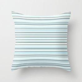Joseph Stripes Fine Stripe Pattern in Pale Sea Blue and Off-White Throw Pillow