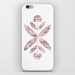 Folkart Leaves and Flowers Design / Batik Tie Dye / blue, brown, corel iPhone Skin