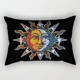 Celestial Mosaic Sun and Moon Rectangular Pillow